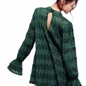 Free People Lace Simone Green Boho dress  NWT